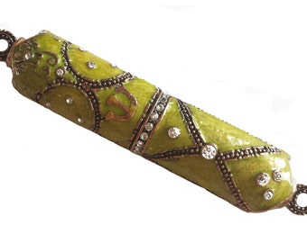 Beautiful Handmade Enamel Mezuzah Decorated with Jewels