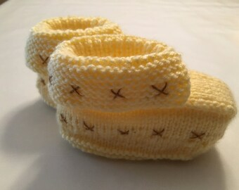 Yellow with Brown Baby Booties