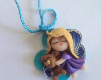 Necklace with Cute Little Fairy & Teddy Bear Pendant