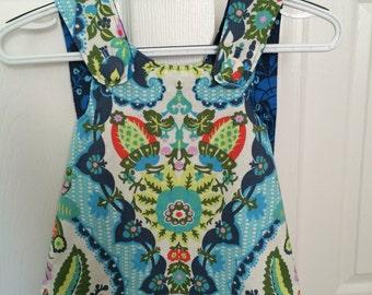 6-12 Month Dress, Pinafore Dress, Summer Dress, Blue Dress, linen dress, girls summer dress, blue summer dress