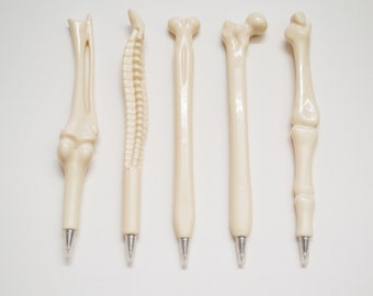 Pack of 5 Anatomical Bone BallPoint Pens