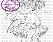 Digital Stamp, Digi Stamp, digistamp, Emma and Ellie - with wings by Conie Fong, Girl, Fairy, elephant, fantasy, children, coloring page