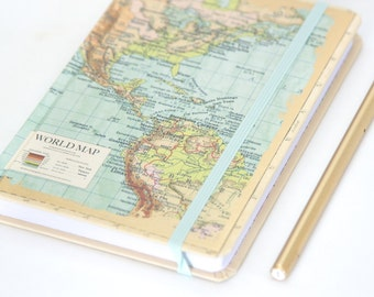 World Map Hardcover Travel Journal