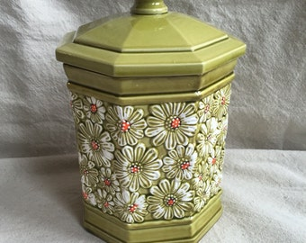 Green Daisy Ceramic Cookie Jar Canister Retro Vintage Mid Century