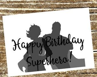Kids Birthday Card, Superhero Birthday Party, Superhero Invitations, Children's Birthday Card, Superhero Card, Comic Book, Superhero Party,
