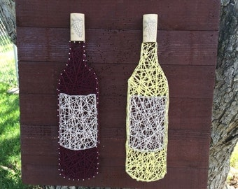 Made to Order Double Wine Bottle Hanging String Art Decoration