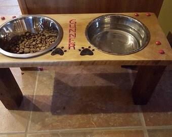 Custom made Raised dog dish holder