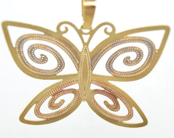 Tri-Color Butterfly Necklace/14K Gold Filled/Butterfly Charm/Gold Necklace
