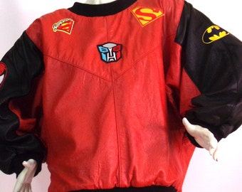 black leather jacket with red patches