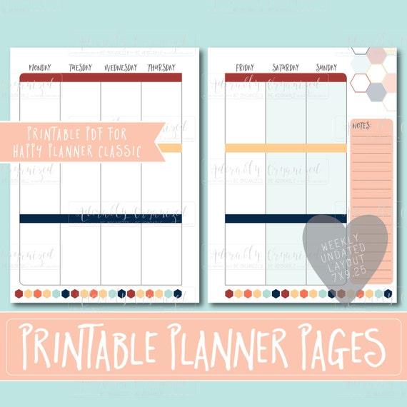 Happy Planner Calendar Refills : Happy planner printable weekly refills inserts x
