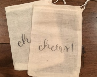 Wedding Toss Bags | Throw Bags | Wedding Favor Bags | Muslin Wedding Favors | Calligraphy Toss Bags | Tossing Bags