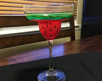 Watermelon Margarita Glass hand painted