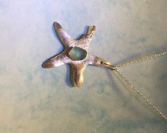 Sterling Silver Sea Glass Star Fish Pendant