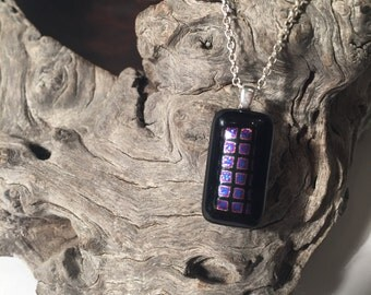 Black and dichroic fused glass pendant