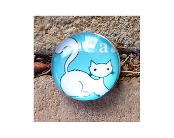 20mm Cat Interchangeable Snap Charm, Blue With White Cat, Snap Into Any Accessory, Rhodium Plated, 4 Available