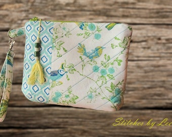 Clutch/Purse/Wristlet/Key Fob/Quilted/Birds in Blooms design.