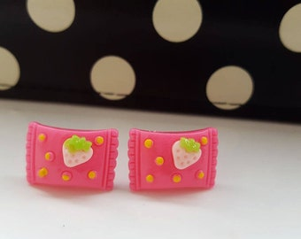 Strawberry Dotted Sweet Wrapper Stud Earrings