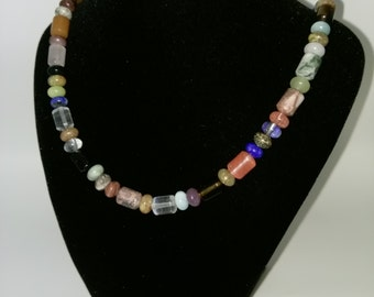 Semi Precious Necklace, Mixed Agates with sterling silver clasp