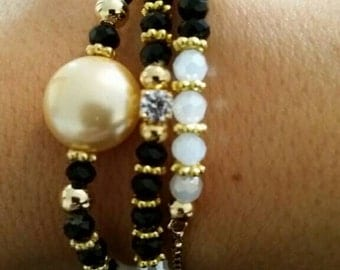 Gold filled bracelet set of 3: onix, crystals, zirconia