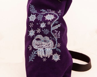 Purple leather bag winterscene embroidery birds snowflakes frozen fashion drawstring bucket bag indie couture purse romantic dutch design