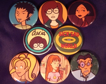 8 Daria Pin Buttons 1.25 Inch Diameter