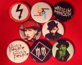 8 Marilyn Manson Pin Buttons 1.25 Inch in Diameter