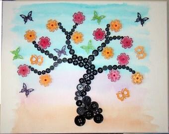 Button Wall Art - tree