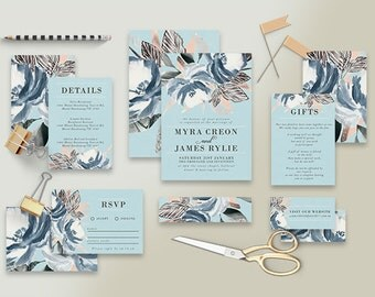 "Printable Wedding Invitation Suite ""Sistine"" - Printable DIY Invite, Affordable Wedding Invitation"