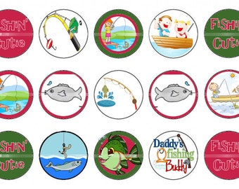 Fishing cutie bottlecap images Daddy's fishing buddy Digital images