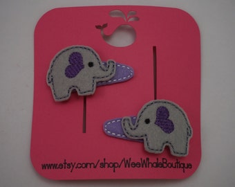 Set of Right And Left Elephant Hair Clips, Snap Clips