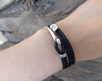 EXPRESS SHIPPING,Women's Wrap Leather Bracelet, Black Leather Bracelet, Half Metal Bracelet, Wrap Bracelet, Mother's Day, Gift for Her