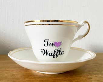 Tw*t Waffle   Custom Made To Order  Swear Teacup and Saucer   Funny Rude Insult Obscenity Profanity   Unique Gift Idea