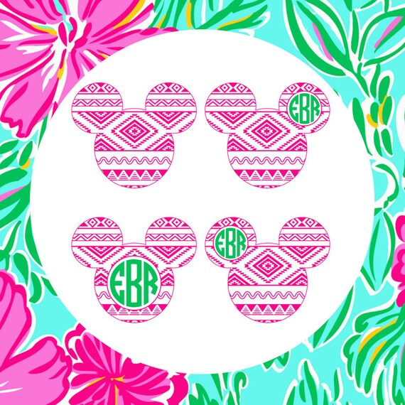 Mickey Mouse Aztec Frame Cutting Files in Svg Eps by SVGByTheSea