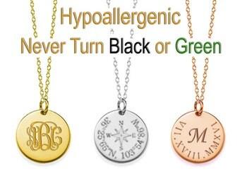 "Monogram Necklace, Custom Name Necklace, 3/4"" Custom  Monogram Necklace, Name Necklace, Initial Necklace, bridesmaid gift"