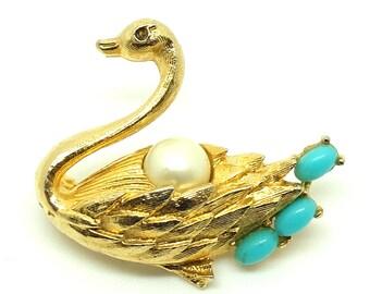 Vintage 1960s Swan Brooch | Vintage Brooch | Vintage Swan Pin | Bird Pin | Vintage Bird Brooch | Faux Turquoise Brooch | Faux Pearl Brooch