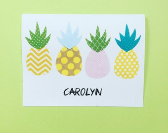 Pineapples PERSONALIZED Notecards, Set of 10 Notecards and Envelopes