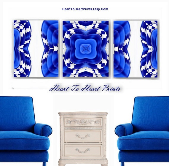 Cobalt Blue Living Room: Living Room Abstract Royal Cobalt Blue Navy By
