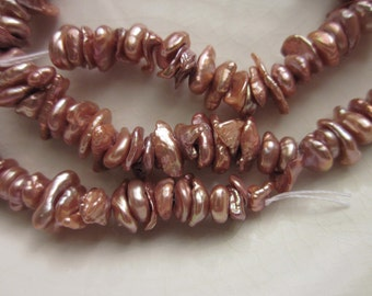 "Mulberry Pink Keshi Freshwater Pearls, 16"" Strand"