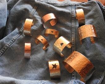 Dazzling! Copper & red brass cuff bracelets, hammered