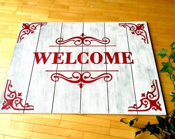 Welcome welcome wood sign door sign, wood