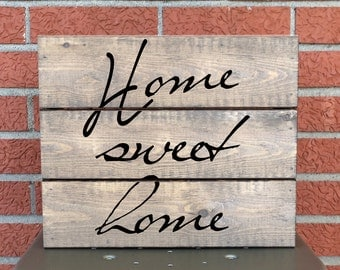 Home Sweet Home Sign - Whitewashed Wooden Sign - Personalized Gift - Home Decor