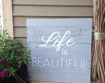 Rustic Life is beautiful 2 ft. X 2 ft. pallet wood board-grey and white