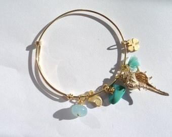 """Adjustable bracelet """"longing for the sea,"""" bangle charm bracelet"""