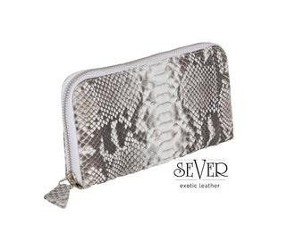 Gray Wallet, Zip Wallet, Gray Leather Wallet, Wallet Women, Gray Python Wallet, Python Wallet, Snakeskin Wallet, Zip Around Wallet, SV-0032