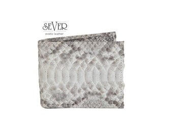 Gray Leather Wallet, Mens Wallet, Gray Wallet, Genuine Leather Wallet, Snakeskin Wallet, Bifold Wallet, Gray Bifold Wallet, SV-0033