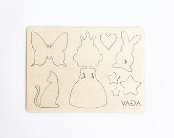Kid's Wooden Stencils - Educational Toys - Wooden Puzzle - For Girls - Princess