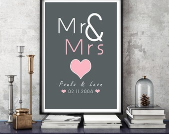 Personalized art print, anniversary wedding day mural ' Mr & Mrs'