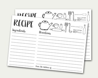 Recipe Cards, Printable Recipe Card, Doodles Recipe Card, DIY Recipe Card, Black And White Recipe Card, Recipe Card With Kitchen Utensils