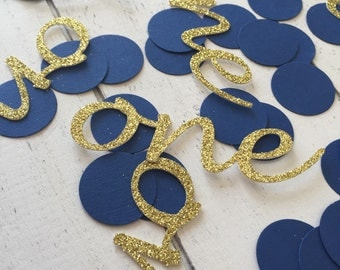 Gold and royal blue one confetti. Confetti. First birthday party. 1st birthday boy. Blue and silver confetti.