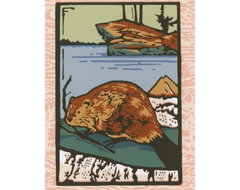 "Screen Print - ""Beaver"" Limited Edition Handmade Fine Art"